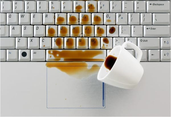 computers break down due to coffee spill