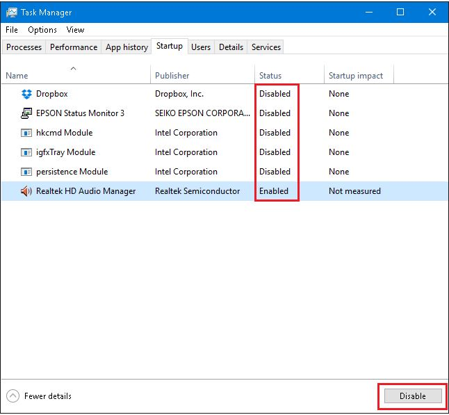 clean boot-task-manager-disable